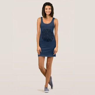 Ladies blue Dress with Mandala art