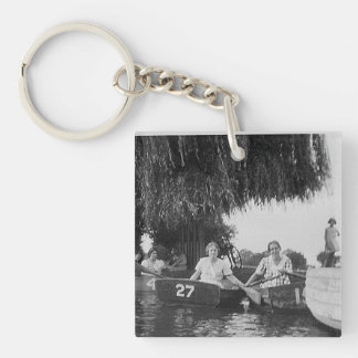 Ladies & Boats Black White Acrylic Square Keychain