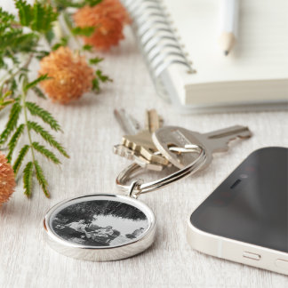 Ladies & Boats Black White Premium Round Keychain