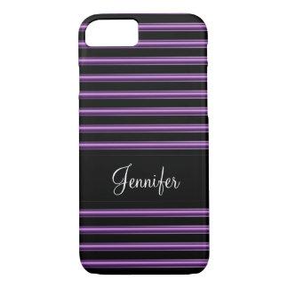 Ladies Classy Stripes Monogram iPhone 7 Case