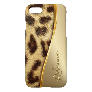Ladies Elegant Faux Leopard Monogram Luxe Gold iPhone 8/7 Case