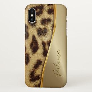 Ladies Elegant Faux Leopard Monogram Luxe Gold iPhone X Case