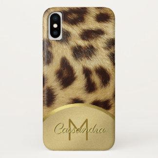 Ladies Faux Leopard Fur Monogram Gold Emossed iPhone X Case