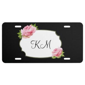 Ladies Floral Monogram Style License Plate