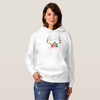 Ladies Flower Deer Antler Sweatshirt Hunting Camp
