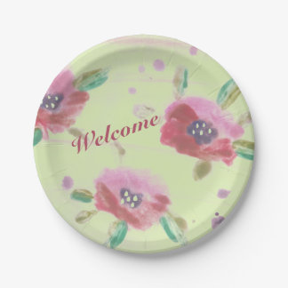 Ladies Flowered Event Welcome 7 Inch Paper Plate