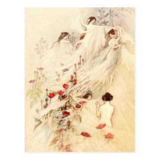 Ladies gathering gossamer for dresses postcard