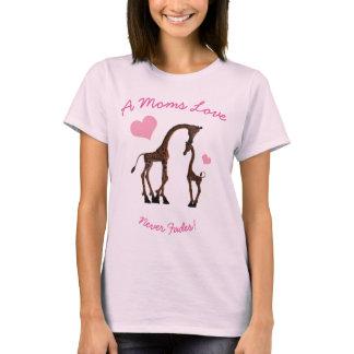 Ladies Giraffe Mothers Love T Shirt