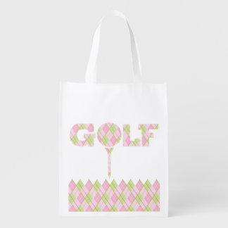 Ladies golf argyle patterned printed bag