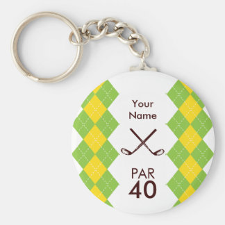 Ladies Golf Party Argyle Preppy Basic Round Button Keychain