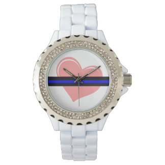 Ladies Heart on The Thin Blue Line Watch