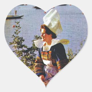 Ladies in Breton costume Heart Sticker