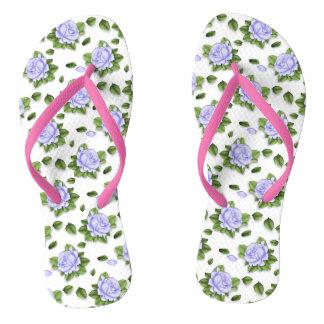 Ladies Lavender Floral Flip Flops