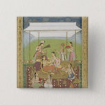Ladies listening to music in a garden, from the Sm 2 Inch Square Button
