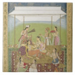 Ladies listening to music in a garden, from the Sm Tile