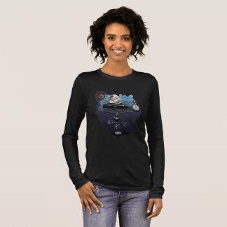 Ladies mermaid, fake anchor chain and compass long sleeve T-Shirt
