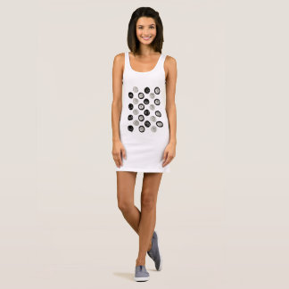 Ladies minidress : white and black sleeveless dress