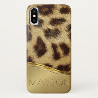 Ladies Modern Leopard Faux Fur Luxe Gold Monogram iPhone X Case