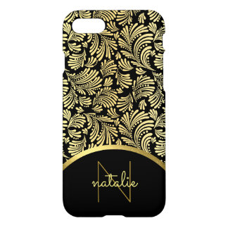 Ladies Monogram Elegant Faux Gold Floral Abstract iPhone 8/7 Case