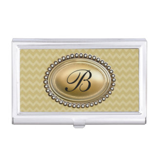 Ladies Monogram Initial With Classy Emblem Business Card Holder