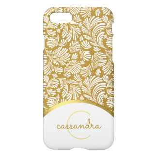 Ladies Monogram Modern Gold White Floral Abstract iPhone 8/7 Case