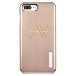 Ladies Monogram Modern Minimalist Luxury Rose Gold Incipio DualPro Shine iPhone 8 Plus/7 Plus Case