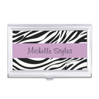 Ladies Monogram Zebra Pattern Business Card Holder