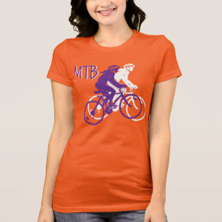 Ladies Mountain Biking MTB deisgn in purple/white T-Shirt