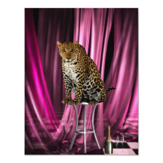 "Ladies Night Club Leopard Event Party 4.25"" X 5.5"" Invitation Card"