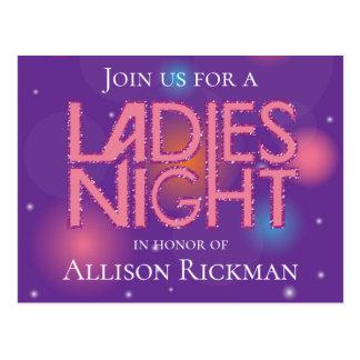 Ladies night glamorous design postcard