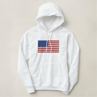 Ladies old glory stars and stripes US flag Embroidered Hoodie