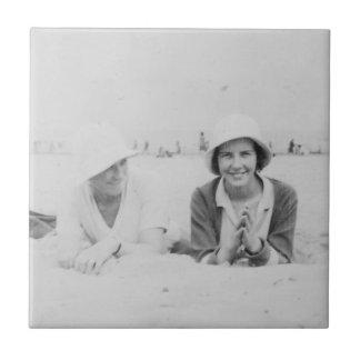 Ladies On Beach Old Image - Ceramic Photo Tile