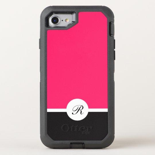 Ladies Pink Black And White Monogram OtterBox Defender iPhone 7 Case