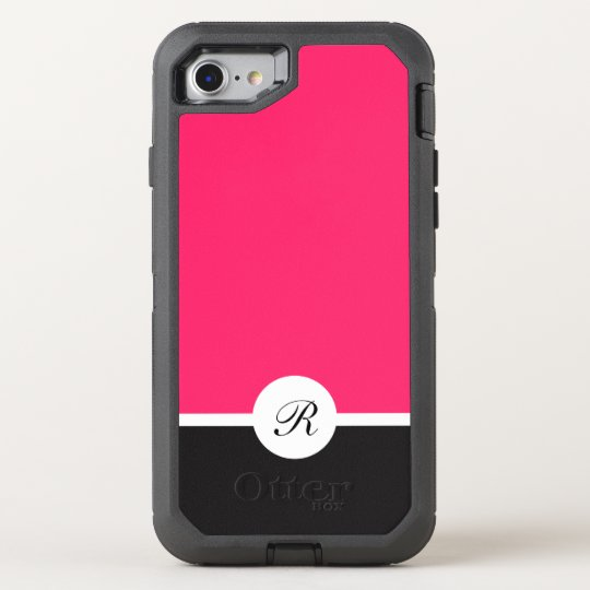 Ladies Pink Black And White Monogram OtterBox Defender iPhone 8/7 Case