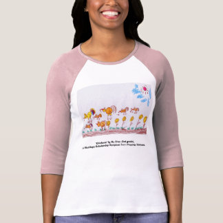 LADIES PINK RED BASEBALL T-SHIRT Chickens