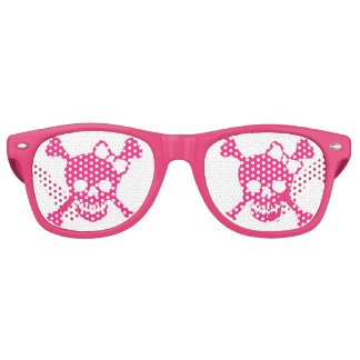 Ladies Pink Skull Party Shadez Retro Sunglasses