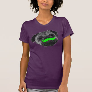 Ladies pug with green mustache tee