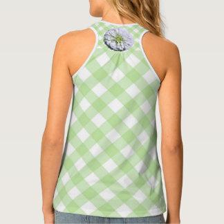 Ladies' Racerback Tank-A/O - Lemony Zinnia Lattice Tank Top
