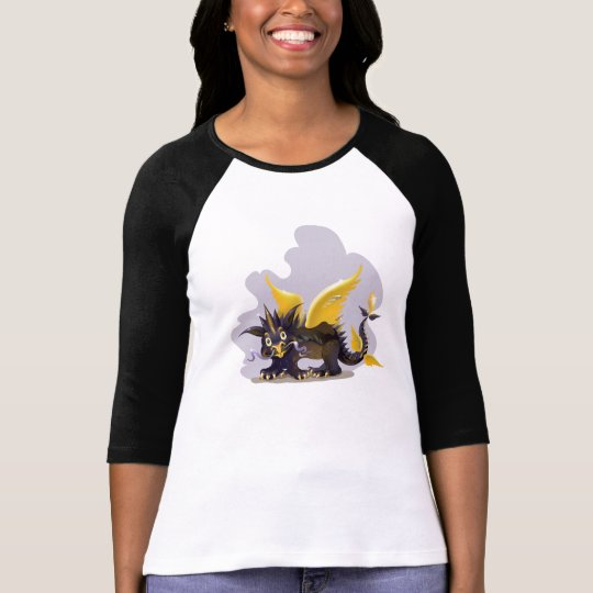 Ladies   raglan shirt with funny black dragon pict