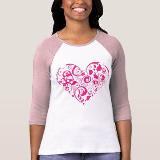 Ladies raglan sleeve shirt with red decorative hea