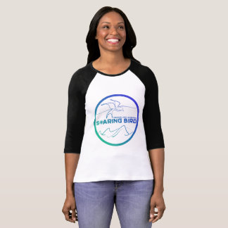 Ladies Raglan Soaring Bird Emblem - blue/teal T-Shirt