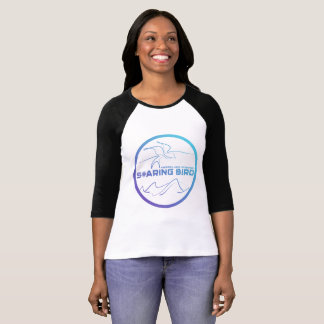Ladies Raglan Soaring Bird Emblem - purple/teal T-Shirt