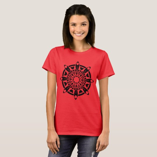 Ladies  red t-shirt with mandala