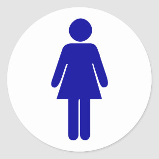 Ladies Restroom or Bathroom Sign Classic Round Sticker