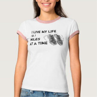 Ladies' Ringer - Life 13.1 miles at a time Tees