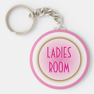 Ladies Room Pink Basic Round Button Keychain