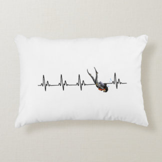 Ladies SCUBA Diving Heartbeat Decorative Pillow