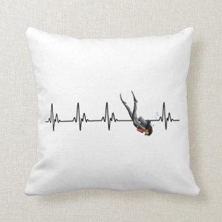 Ladies SCUBA Diving Heartbeat Throw Pillow