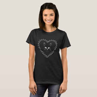 Ladies short-poor T-shirt with CAT into HEART from