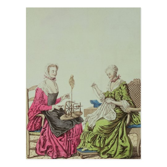 Ladies spinning and sewing, c.1765 postcard